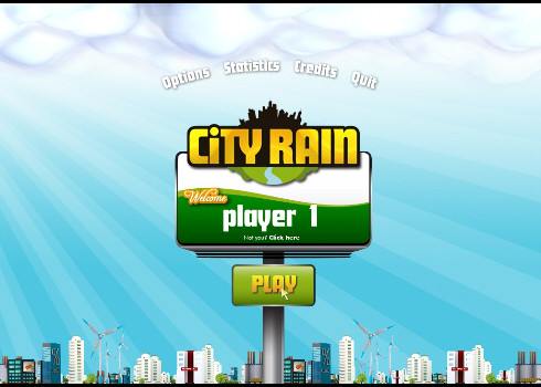 city rain main menu