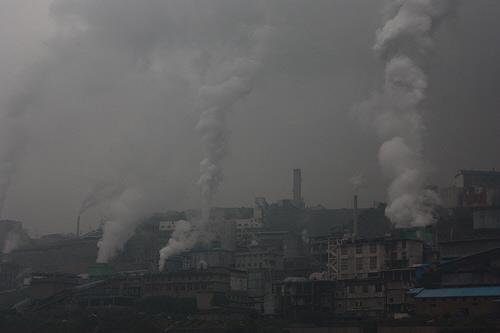 Heavy smog in Chongqing China
