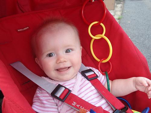 baby in maclaren stroller