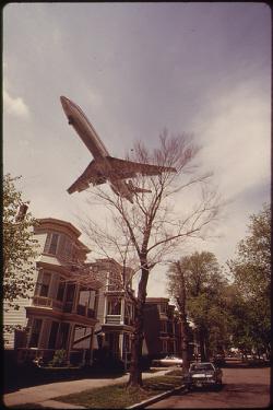 jet passing over east boston neighborhood