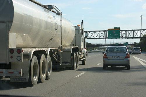 a long haul truck on an interstate highway