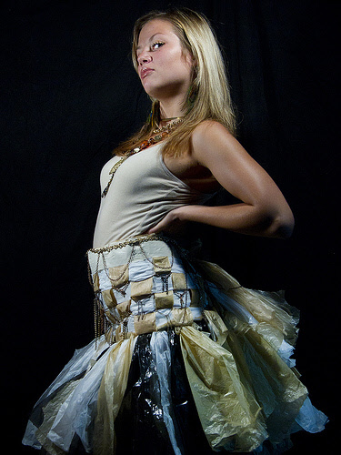 skirt by rachel mace made from reused plastic grocery bags