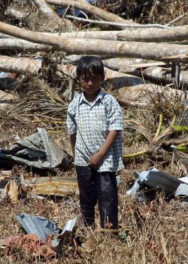 child among wreckage following 2004 indian ocean tsunami
