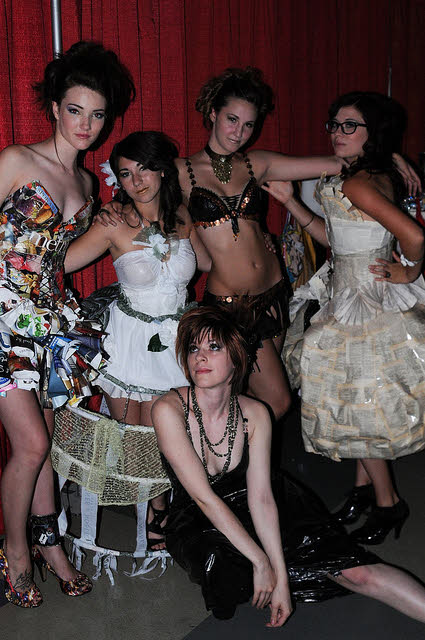 the totally trashed eco fashion team at runway renegades show
