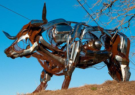 old car art - the longhorn sculpture