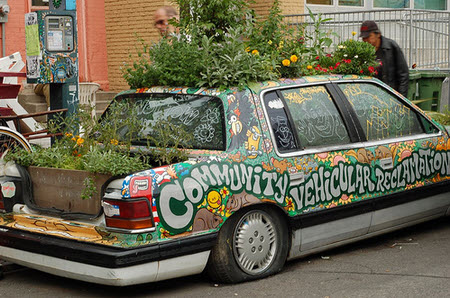 car used as container garden