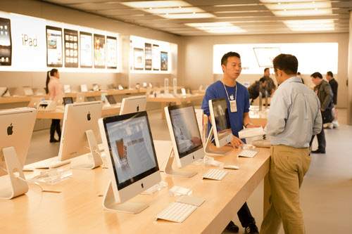 western consumption in china: an apple store in shanghai