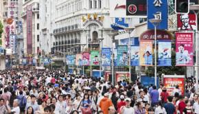 crowded street shanghai