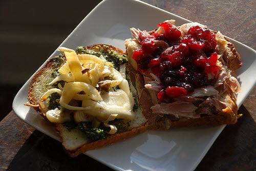 holiday leftover turkey sandwich