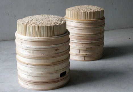 stool made out of recycled chopsticks