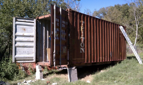 shipping container factory prototype under construction