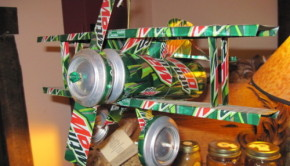 model airplane upcycled soda cans
