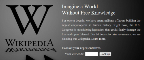 wikipedia's blacked out homepage in protest of sopa/pipa legislation