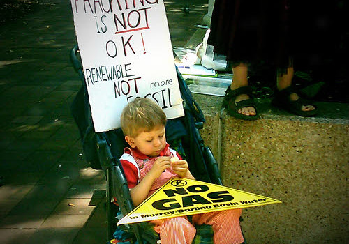 fracking dangers protest child