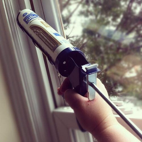 caulking - one easy way to weatherize leaky windows