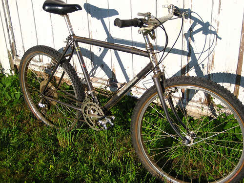 an old bicycle ready for restoration