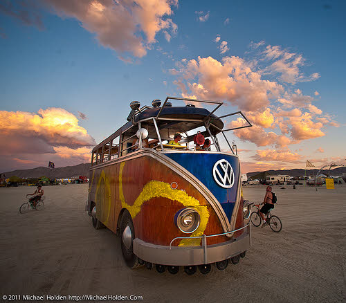 vw bus at burning man