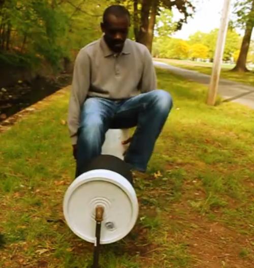 up-stream cheap human-powered washing machine