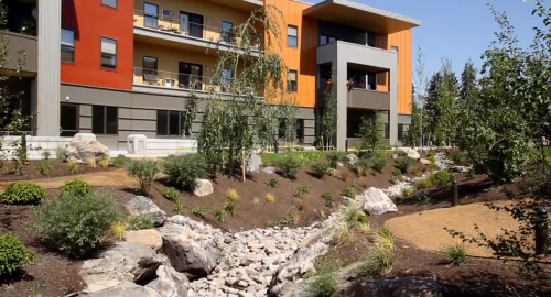 affordable living complex features green building practices
