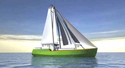 artist rendering of the greenheart project solar and sail powered ship