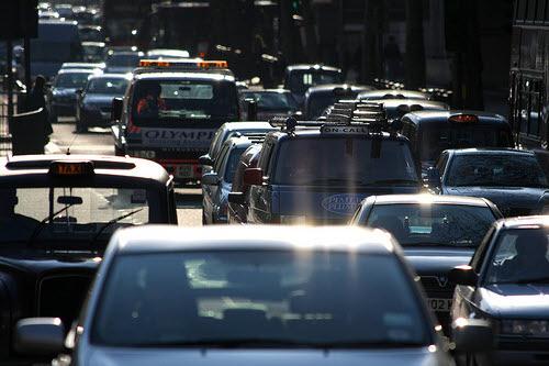 traffic jam in london uk