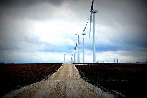 wind turbines dirt road