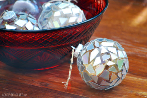 holiday ornaments made from upcycled cds