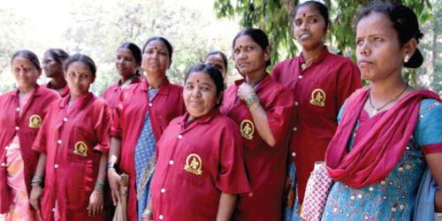 Parisar Bhaginis - waste pickers - in their uniforms