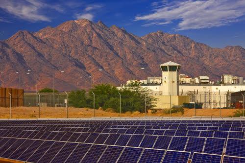 array of solar panels at Ironwood Prison