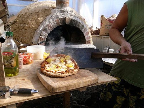 wood fired pizza oven made from cob