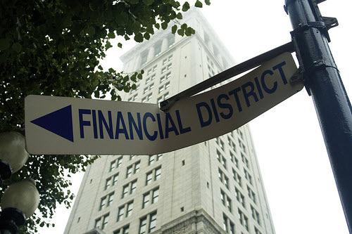 broken financial district sign