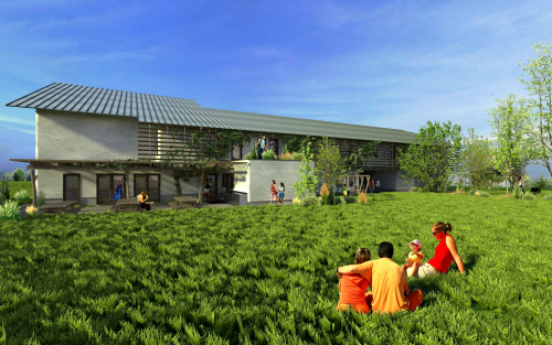 dancing rabbit community building artist rendering