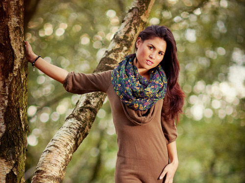 fashion model in natural setting