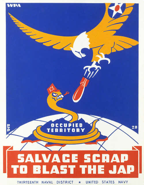 world war two poster encouraging scrap metal recycling