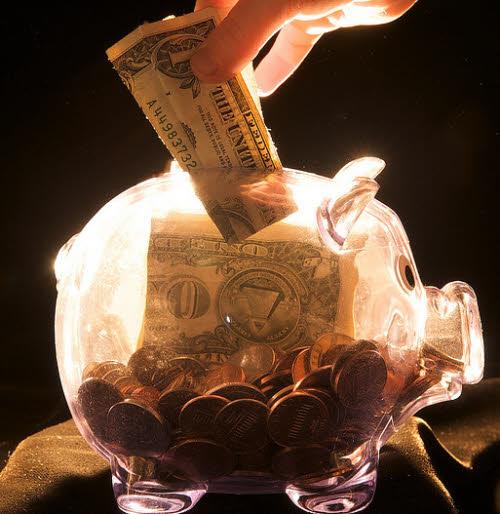 lit up piggy bank