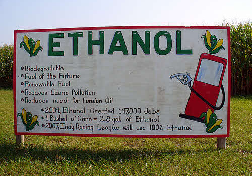 corn ethanol sign