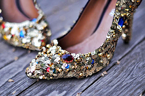 embellishments on old shoes