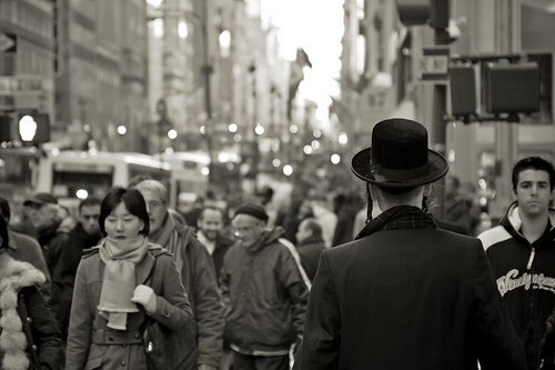 crowd in manhattan new york city