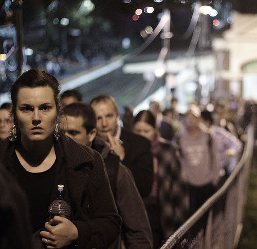 long line of people