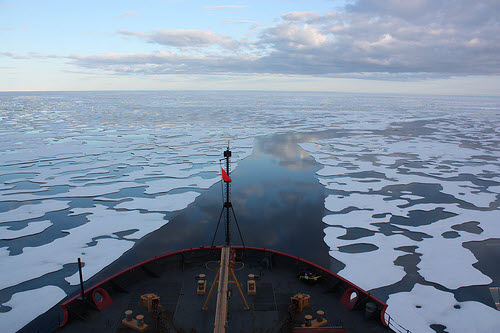 us coast guard cutter sails through melting arctic sea ice