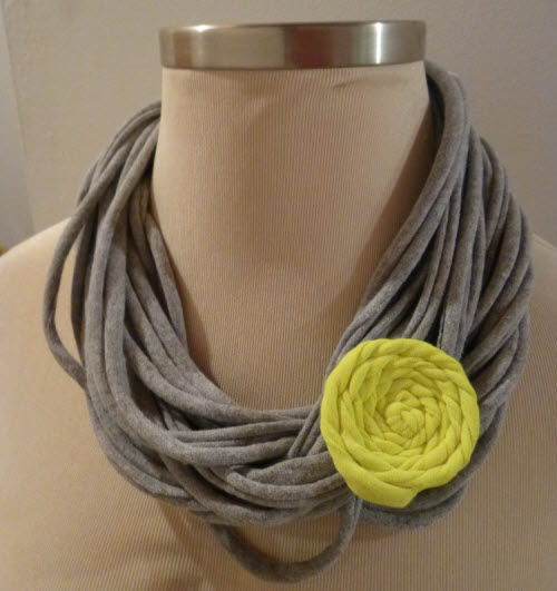 rosette made from upcycled t-shirt