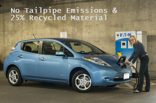 nissan leaf has twenty-five percent recycled materials