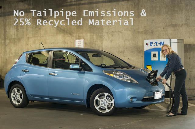 nissan leaf has twenty-five percent recycled materials