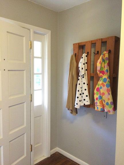 pallet coat rack hanging in the hall