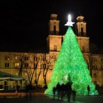 artificial christmas tree made from plastic water bottles