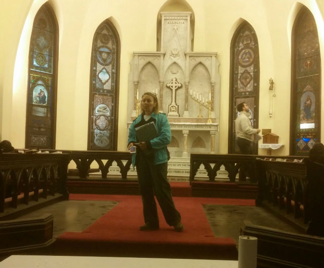 examining the nave at st. john's episcopal church