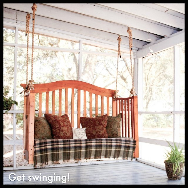 Diy porch swing from a crib easy upcycling for Old porch swing