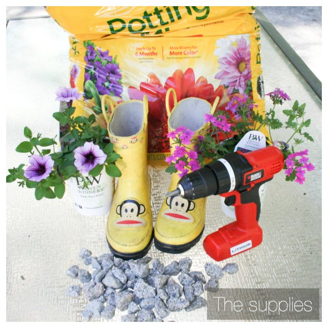 supplies for making a rain boot planter