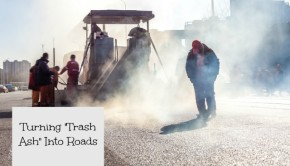 road construction with trash ash