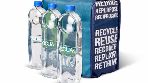 agua water bottles are designed to be repurposed into roofing tiles